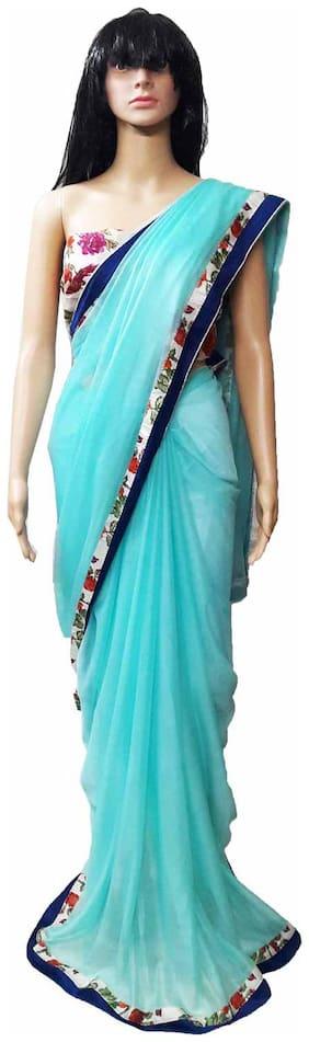 GreenViji Womens/Girls  Blue Bhagalpuri Silk Printed Lace Saree With UnStiched Blouse