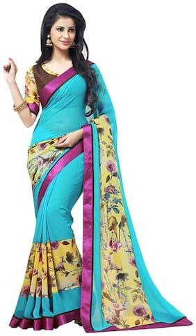 GreenViji Womens/Girls  Turquoise  Georgette Printed Saree