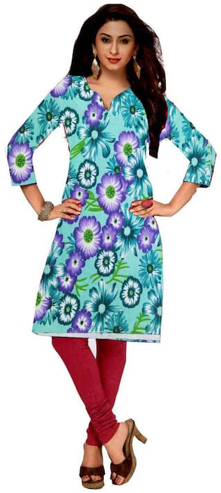 GreenViji Womens/Girls  Multicolor Cotton Printed Straight UnStiched  Kutri/Top/Dress Material
