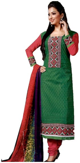 GreenViji Womens/Girls Green Cotton Embroidered Straight UnStiched Dress Material