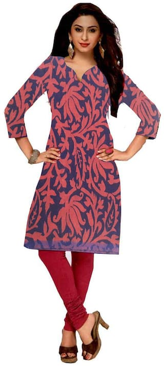 GreenViji Womens/Girls  Multicolor Crepe Printed Straight UnStiched  Kutri/Top/Dress Material