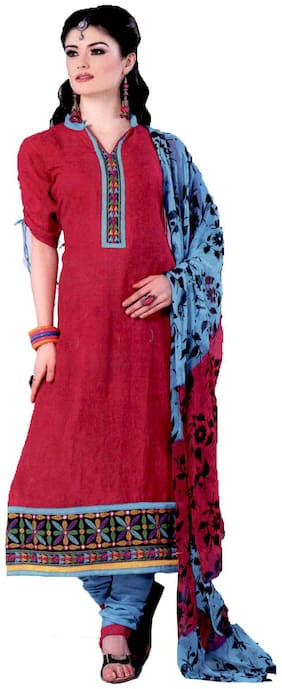 GreenViji Womens/Girls Pink Cotton Embroidered Straight UnStiched Dress Material