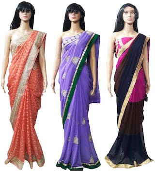 GreenViji Womens/Girls  Beige Georgette Embroidered Saree With UnStiched Blouse Combo Set of 3