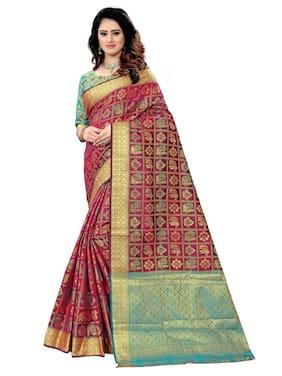 Greenvilla Designs Wine Banarasi Silk Wedding Wear Saree