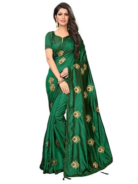 d69544f2a8 Greenvilla designs Silk Maheshwari silk Embroidered work Saree - Green ,  With blouse