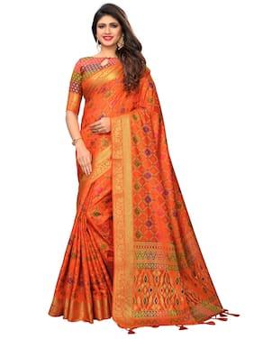 Greenvilla designs Silk Patola Applique Work Saree - Orange