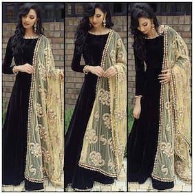 Greenvilla Designs Black Bangalore Silk A-line Semi-Stitched Suit