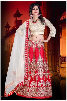 Greenvilla designs Net Fish Cut Lehenga Choli - Red