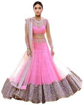 Greenvilla designs Net Solid A-line Lehenga Choli - Pink