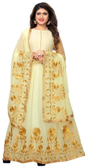 Greenvilla designs Silk Solid Dress Material - Beige