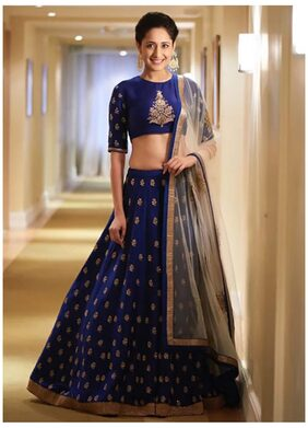 Greenvilla Designs Blue Bangalore Silk A-line Semi Stitched Lehenga