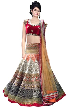 9ab9f2ebb5482 Greenvilla designs Silk Printed A-line Lehenga Choli - Multi
