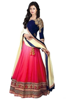 Greenvilla Designs Pink And Blue Lehenga