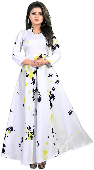 07382a59b Buy Greenvilla Designs White Satin Printed Gown Online at Low Prices ...