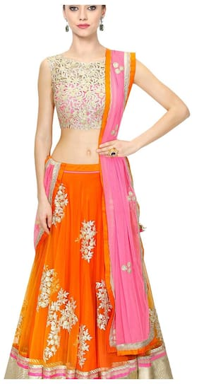 8802367209532 Greenvilla Designs Orange Benglory Silk Lahenga 107