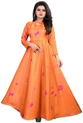 Greenvilla Designs Orange Satin Printed Gown