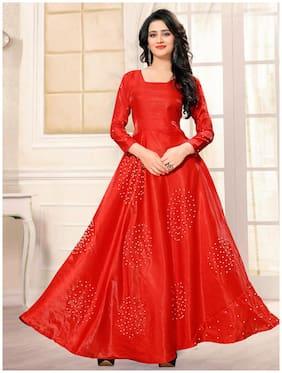 Greenvilla Designs Red Bangalore Silk Anarkali Gown Semi-Stitched Suit