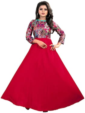 Greenvilla Designs Red Satin Printed Gown