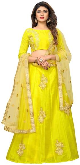 Greenvilla designs Silk Solid A-line Lehenga Choli - Yellow