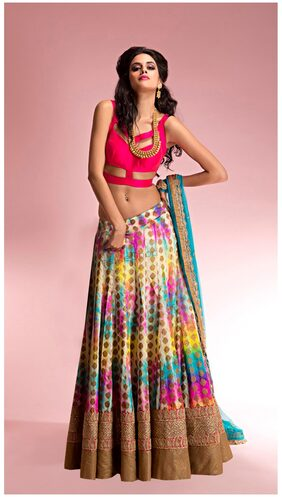 Greenvilla Designs Multi Color Cotton Partywear Semi Stiched Lehenga