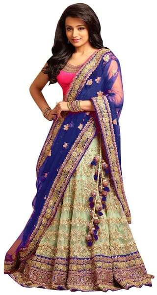 8a53afe5496eb Buy Greenvilla designs Net Flared Lehenga Choli - Blue Online at Low ...