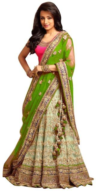 d6011aadba Buy Greenvilla designs Net A-line Lehenga Choli - Green Online at ...