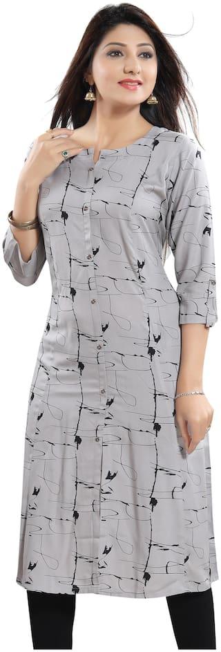 Meher Impex Women Grey Printed A-Line Kurti