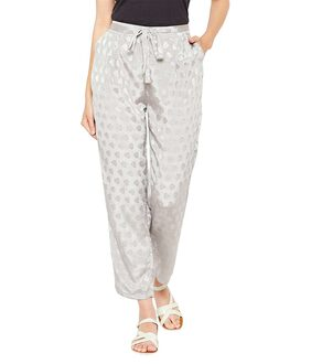 Grey Dobby Printed Tie Knot Pants