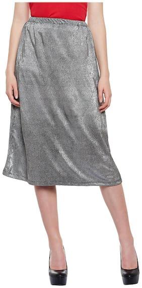 Oxolloxo Solid A-line skirt Mini Skirt - Grey