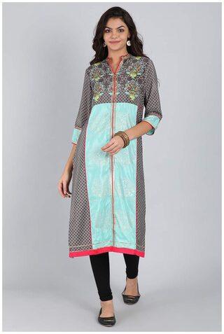 W Women Blended Printed Straight Kurta - Grey
