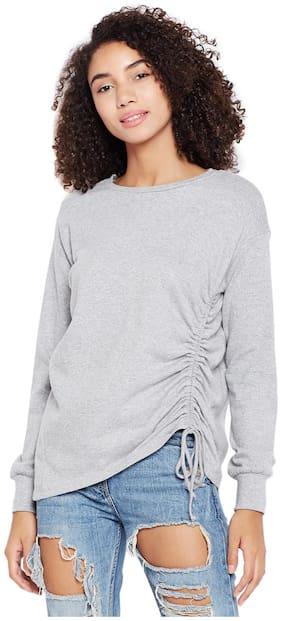 Grey Side Ruching Sweatshirt