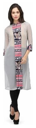 Ojjasvi Women Georgette Solid Straight Kurta - Grey