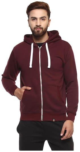 Griffel Men's Basic Cotton-plating Zipper Fleece Sweatshirt with Hood and Metal Zip