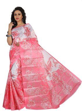 Grubstaker Silk Mysore Block Print Work Saree - Pink