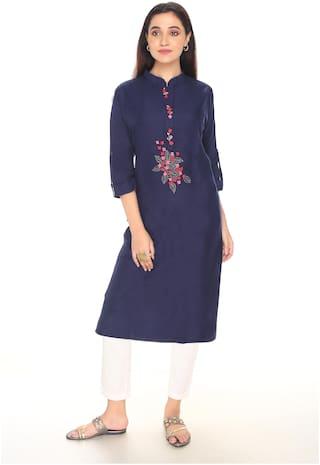 Gudwone Women Blue Embroidered Straight Kurti