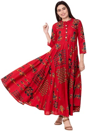 GULMOHAR JAIPUR Women Red Printed Anarkali Kurta
