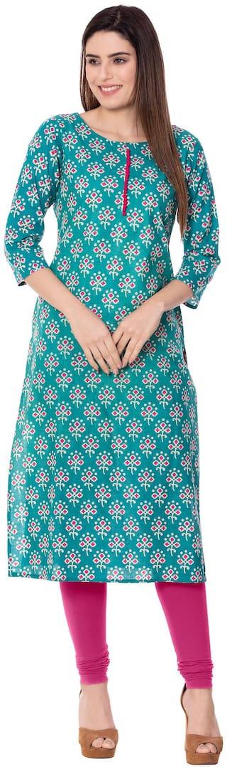 GULMOHAR JAIPUR Women Turquoise Printed Straight Kurta
