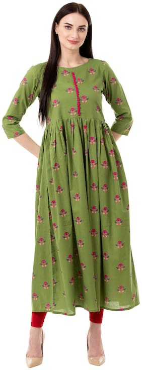 GULMOHAR JAIPUR Cotton Floral Women Green Kurta