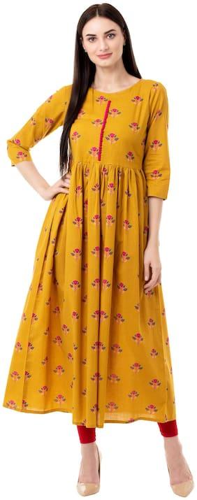 GULMOHAR JAIPUR Cotton Floral Women Mustard Kurta