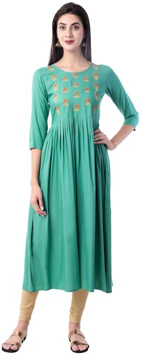 GULMOHAR JAIPUR Rayon Embroidered Women Green Kurta