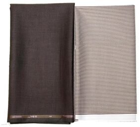 Gwalior Men Polyester Suiting - Brown