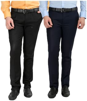 INSPIRE CLOTHING INSPIRATION Men Solid Slim Fit Formal Trouser - Black & Blue