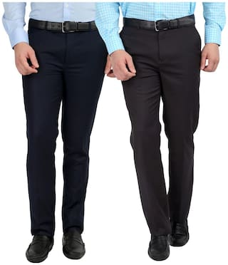 INSPIRE CLOTHING INSPIRATION Men Solid Slim Fit Formal Trouser - Blue & Grey