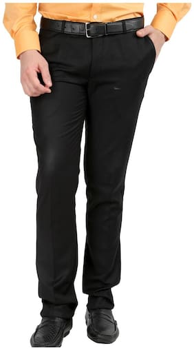 Inspire Men Solid Slim Fit Formal Trouser - Black