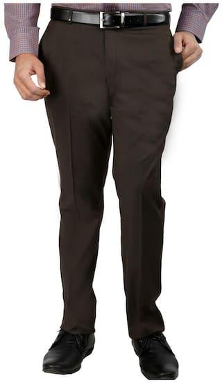 Inspire Men Solid Slim Fit Formal Trouser - Brown
