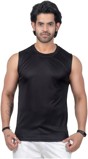 PRIME PLUS 1 Sleeveless Round Neck Men Gym Vest - Black