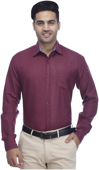 GYMSYM Men Regular Fit Formal Shirt - Maroon