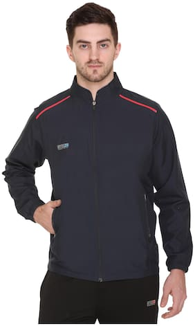 GYMZO Men Navy blue Solid Sports jacket