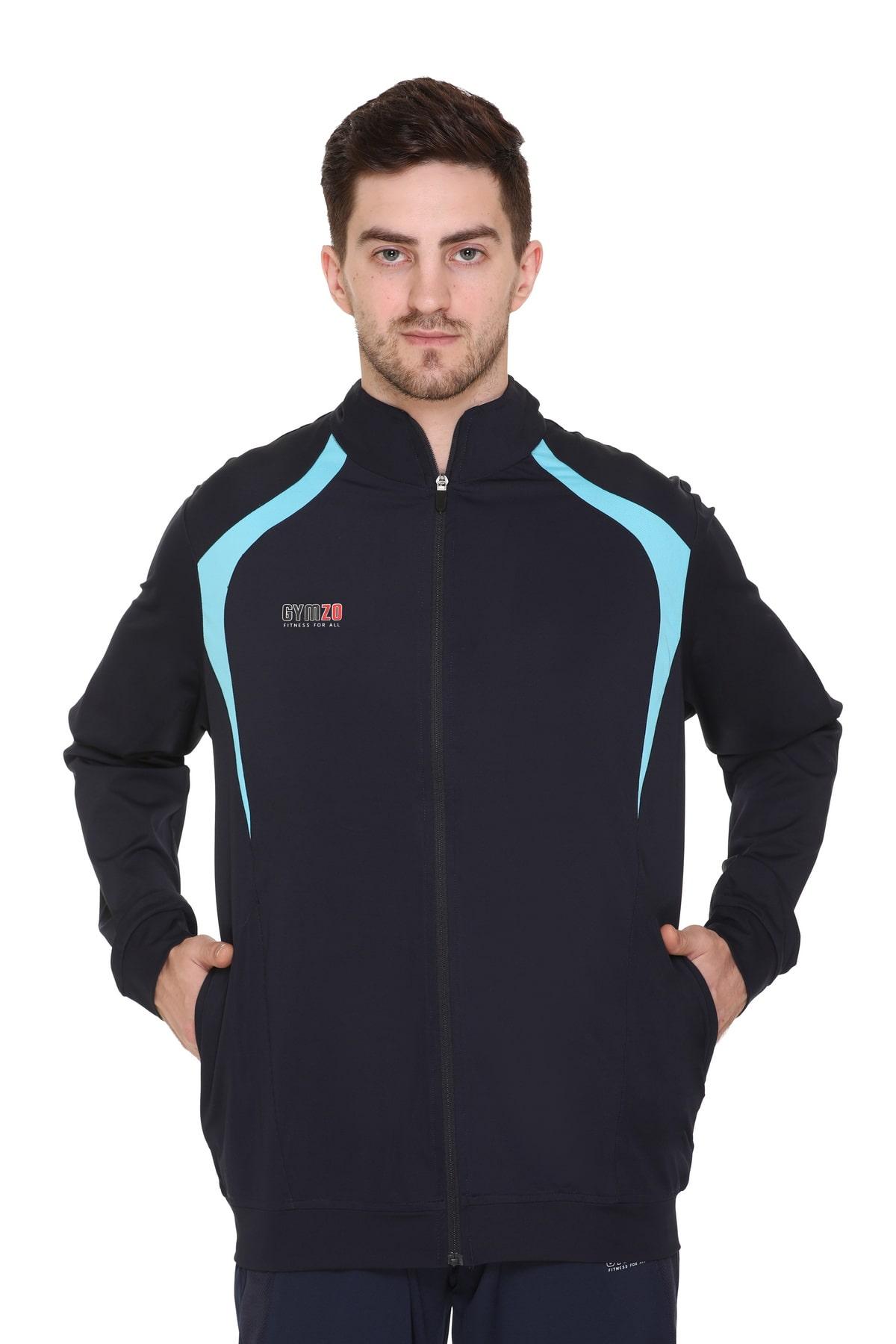 GYMZO Men Navy blue Solid Sports jacket