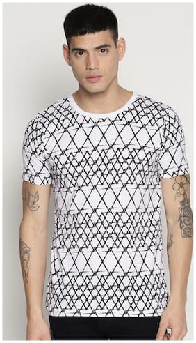 IMPACKT Men Slim fit Round neck Printed T-Shirt - White